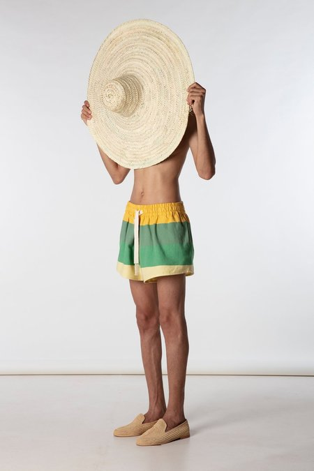 marrakeshi life high waisted cropped shorts - yellow/green stripes