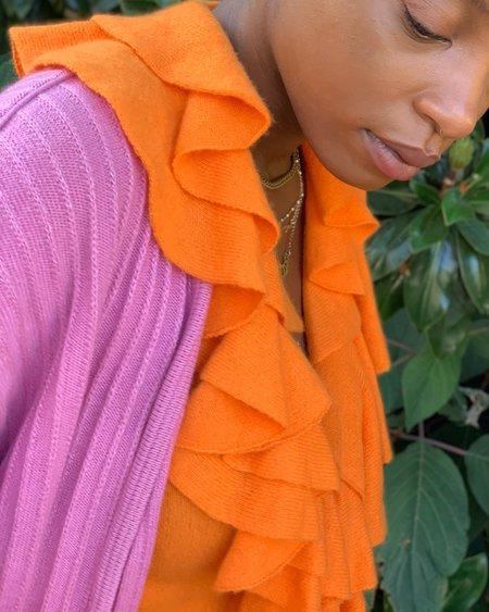 Vintage Banshee Mandarin Cashmere Ruffle Sweater - Orange
