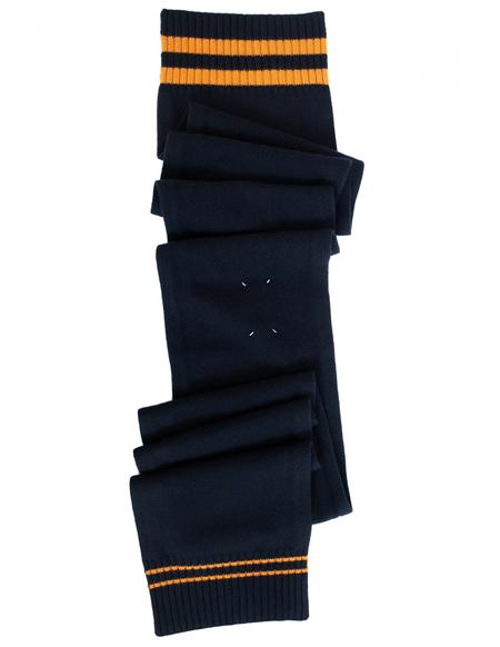 Unisex Maison Margiela Contrasting Stripes Wool Scarf - Navy Blue