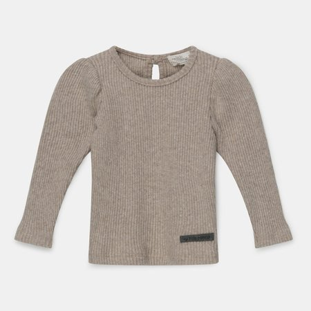 Kids My Little Cozmo Jaden puff-sleeved rib sweater - Beige