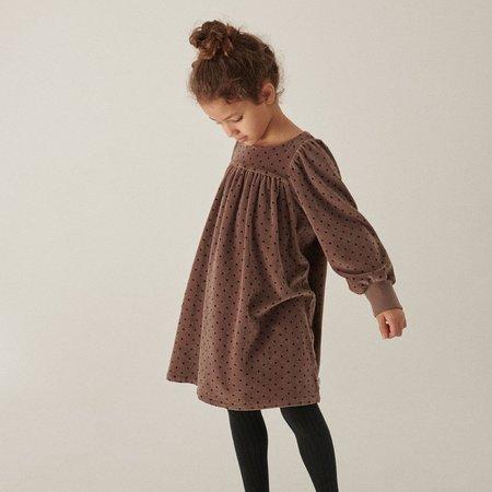 Kids My Little Cozmo  Irene Velour Dress - Taupe Polka Dots