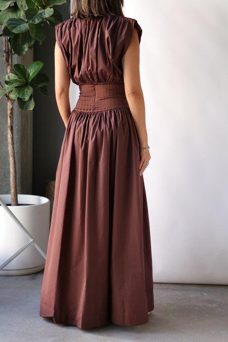 Esse Studios Cotton Gathered Rib Dress - Chocolate