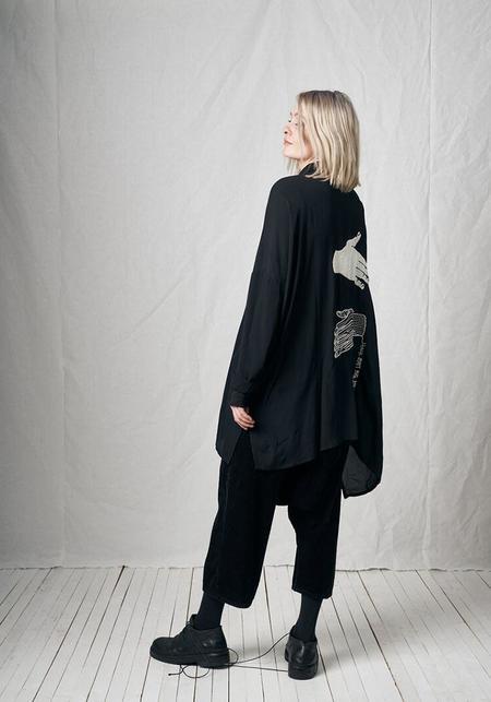 Unisex Pal Offner Oversized Button Front Embroidered Hands Shirt Dress - Black
