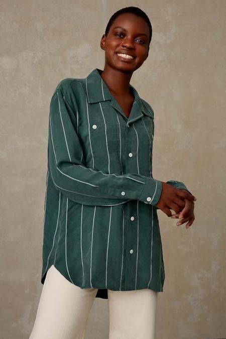 kings of indigo Maud tencel shirt - forest stripe