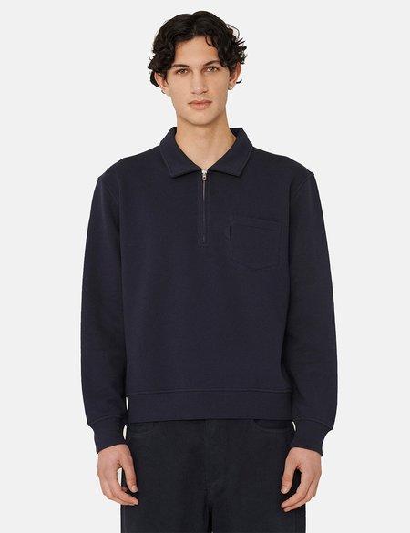 YMC Sugden Cotton Brush Back Zip Sweatshirt - Navy Blue