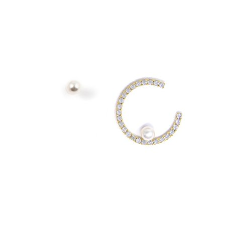 Joomi Lim Small Open Crystal Hoop Earring w/ Affixed Pearl & Pearl Stud Earring - Gold/Crystal/White
