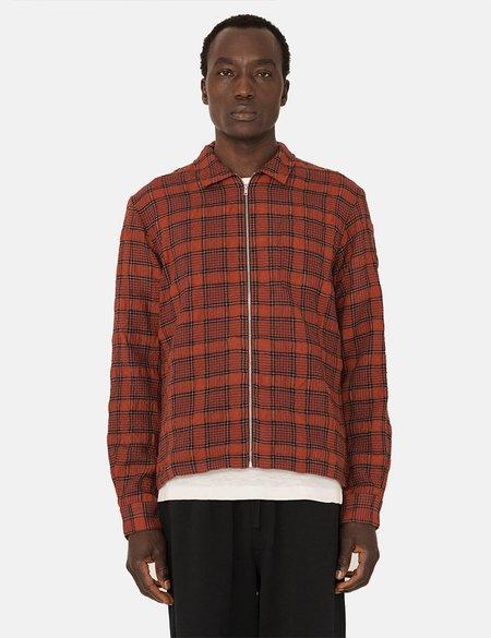 YMC Bowie Zip Shirt - Red/Black
