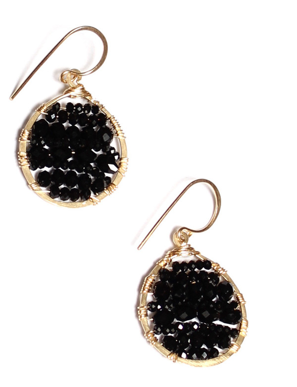 James and Jezebelle Black Onyx and Spinel Circle Earrings
