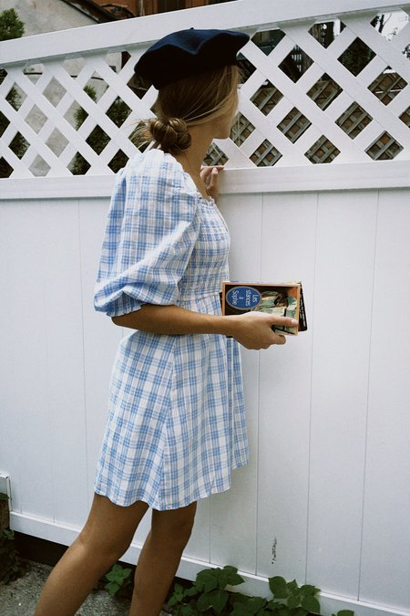Storia Juliette Smocked Plaid Babydoll Dress - White/Blue