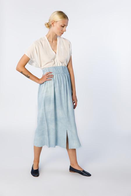 Miranda Bennett Paper Bag Skirt - Silk Noil in Light Indigo