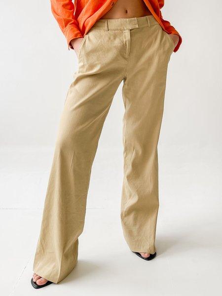 Vintage Linen Relaxed Wide Leg Trousers - Ecru