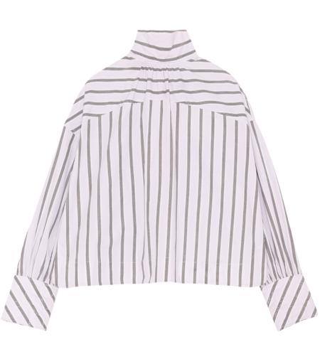 Ganni Stripe Cotton Poplin Top - Misty Lilac