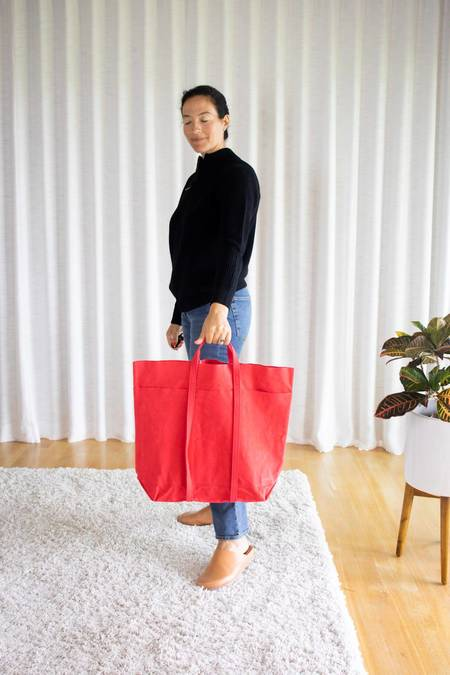 Amiacalva Washed Canvas 6 Pockets Tall Tote - Red