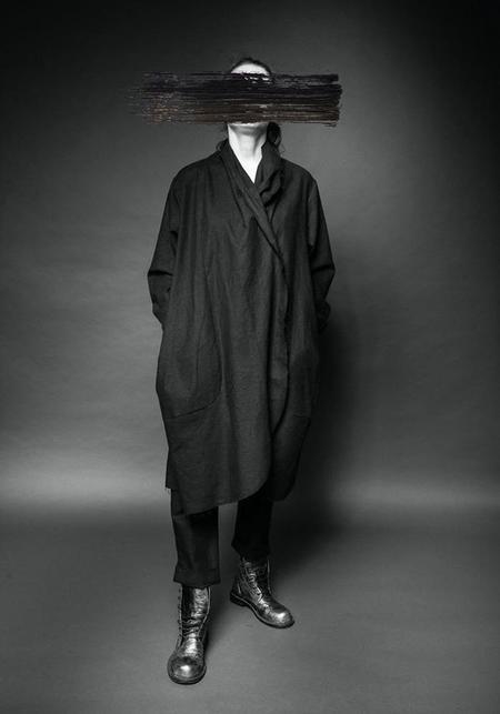 MAKS Draped Boiled Linen Jacket - ANTHRACITE