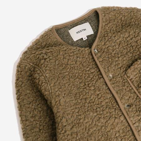 Kestin Neist Wool Fleece Collarless Cardigan - Camel
