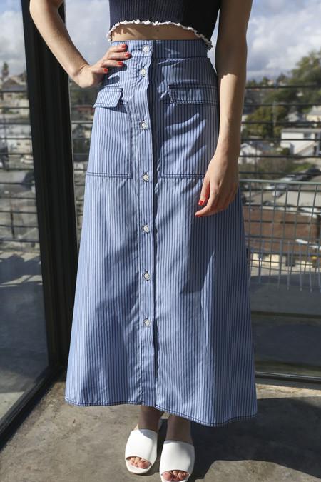Maryam Nassir Zadeh Ines Skirt in Blue/Navy Stripe