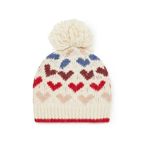 kids bonton jacquard knit pom pom beanie - hearts