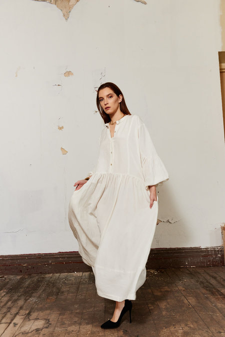 Kamperett Ferou Silk Linen Dress - Ivory