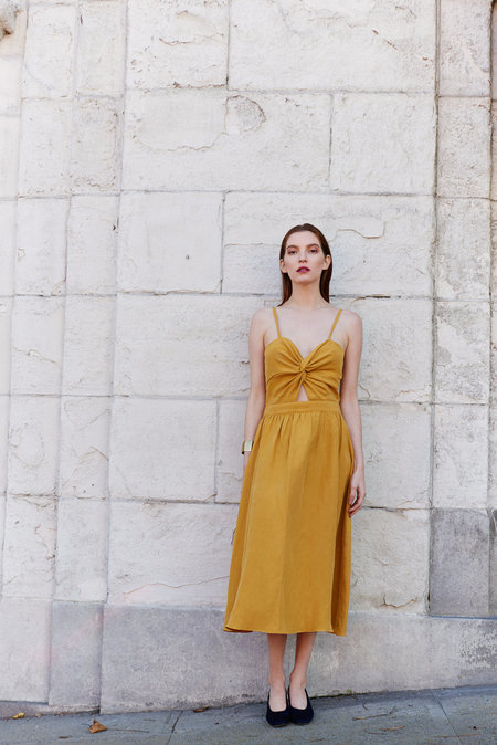 KAMPERETT Compass Silk Linen Knot Dress - Marigold