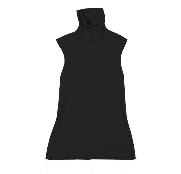 Vincetta Black Sleeveless Cut-Out Turtleneck