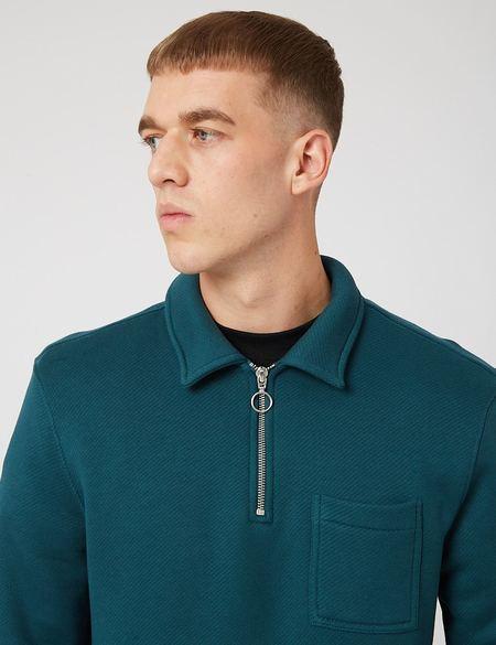 Bhode Everyday Half-Zip Collar Sweatshirt - Deep Teal Green