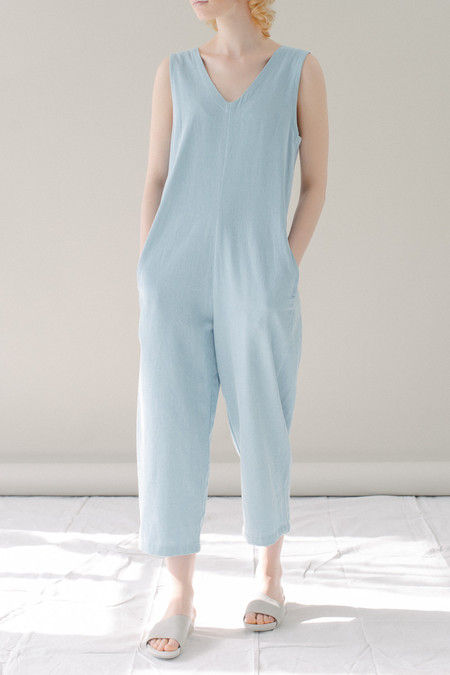 REIFhaus Lou Jumpsuit in Light Indigo Denim