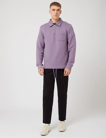 Bhode Everyday Half-Zip Loopback Collar Sweatshirt - Purple