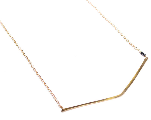 Sarah Dunn Gold Filled V Bar Necklace with Black Spinnel Accents