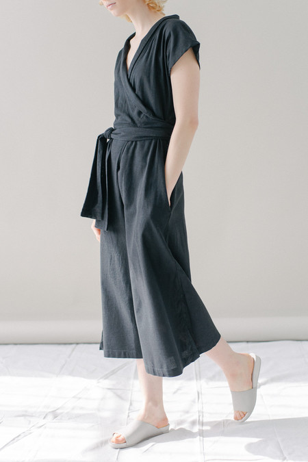 REIFhaus Ramona Wrap Jumpsuit in Black Linen