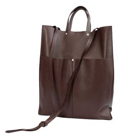 Jil Sander Burgundy Leather Pocket Tote Bag - Burgundy