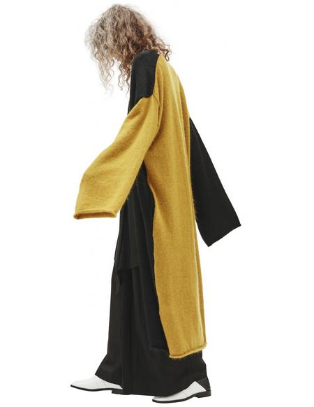 Y's Two-tone long cardigan - Black