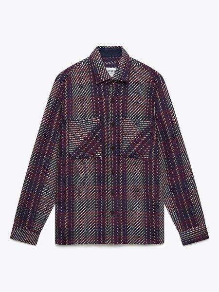 Wax London Whiting Beatnik Overshirt - Burgundy/Navy