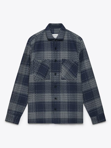 Wax London Whiting Heavy Ombre Plaid Overshirt - Navy/Grey