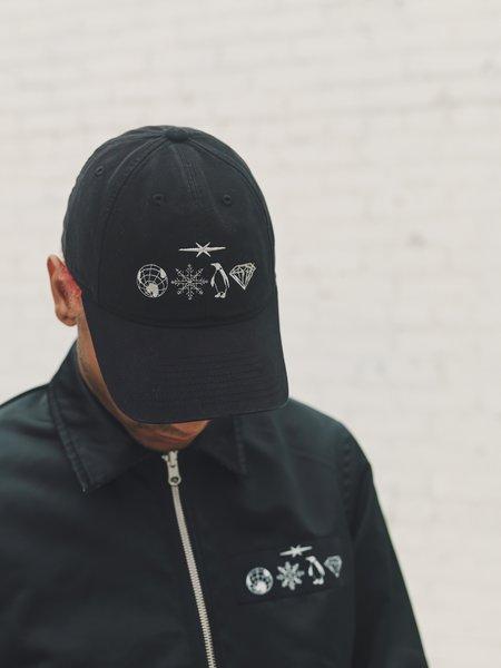 PHIPPS Garment Dyed Cotton Hieroglyph Cap - Black