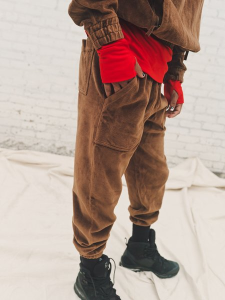 PHIPPS Garment Dyed Bounded Velour Sweatpants - Otter Brown