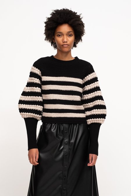 Sea NY Reese Popcorn Stitch Sweater - Navy