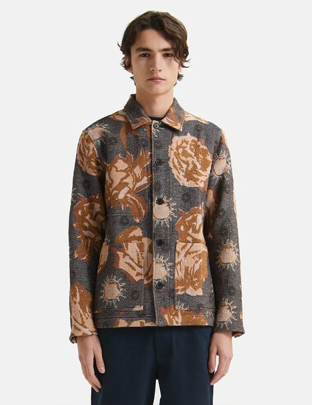 Wood Wood Fabian Jacquard Overshirt - Navy Blue