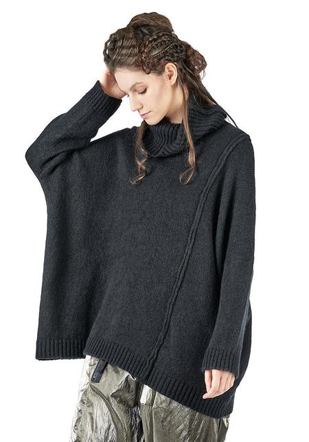 Studio B3 Meryno Oversized Funnel Neck Knit Pullover - Black