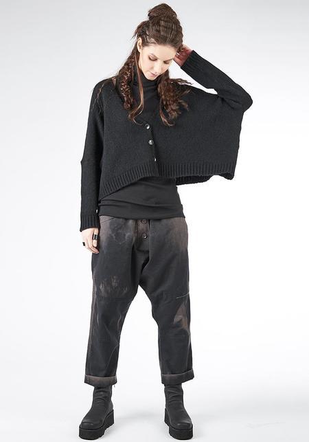 Studio B3 Meryo Cropped Oversized Button Front Knit Cardigan - Black