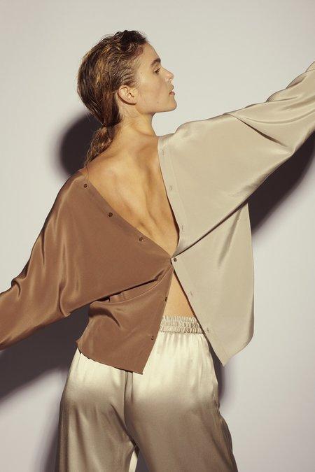 KES Vesta Silk Deep V Blouse - Quartz Colorblock