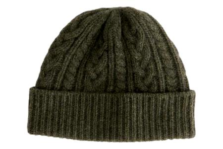 Alex Mill Cashmere Cable Beanie - Army Green Donegal