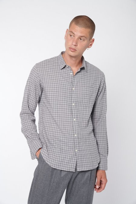 Officine Generale Lipp Brush Mini Cotton Check Shirt - Mid Grey/Grey