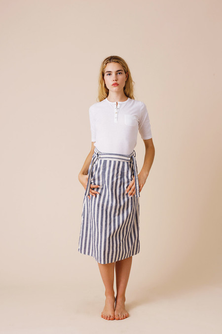Calder Blake O'Keefe Chambray Stripe Wrap Skirt