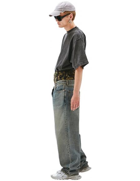 Balenciaga Jeans With Camouflage Waistband - Blue