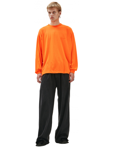 Balenciaga Longsleeve With Embroidered Logo T-Shirt - Orange