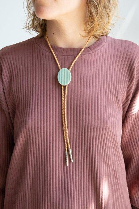 ALISON JEAN COLE Striped Oval Bolo Tie Necklace - Brown