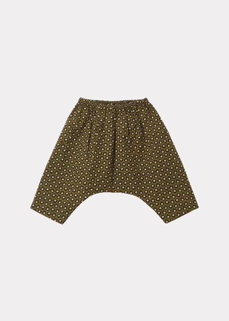 Kids Caramel Igem Baby Trousers - Olive Flower Spot Print