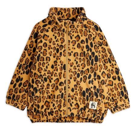 Kids mini rodini leopard fleece jacket - beige
