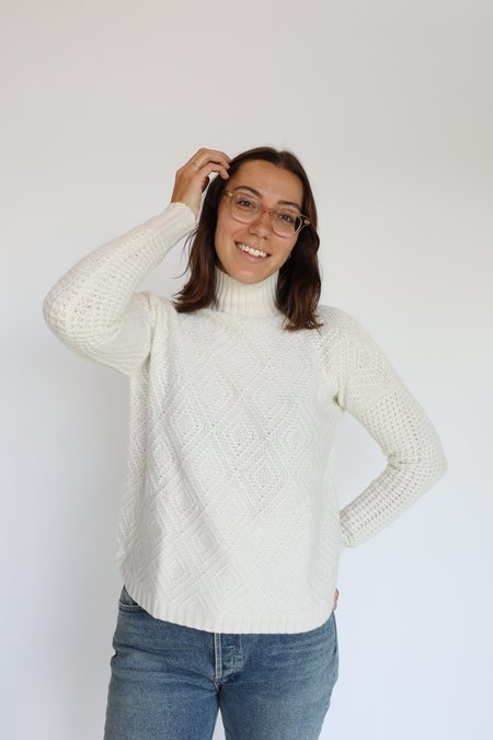 Autumn Cashmere 8 Ply Diamond Stitch Sweater - Chalk