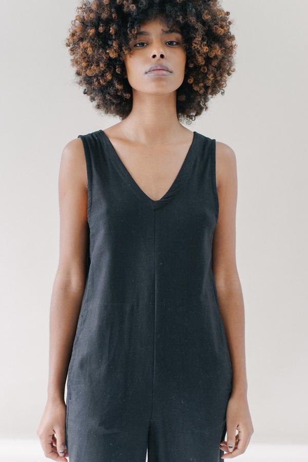 REIFhaus Lou Jumpsuit in Black Linen